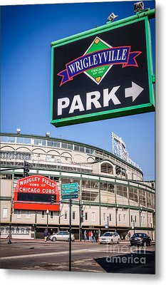 Wrigleyville Sign And Wrigley Field Metal Print by Paul Velgos