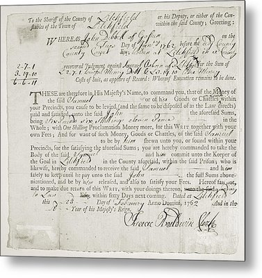 Writ Of Debt, 1762 Metal Print