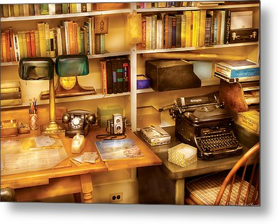 Writer - The Desk Of A Writer  Metal Print by Mike Savad