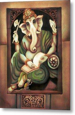Writing Ganesh Metal Print by Vishwajyoti Mohrhoff
