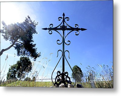 Wrought Iron Cross In Margeride. Haute Loire Metal Print