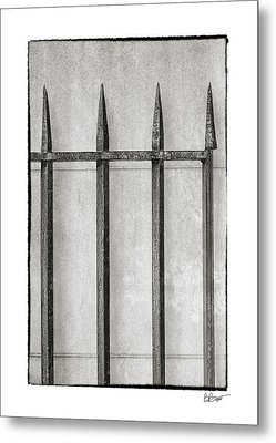 Wrought Iron Gate In Black And White Metal Print by Brenda Bryant