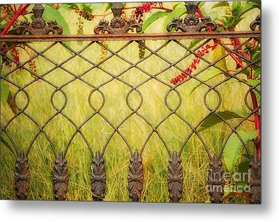 Wrought Iron With Red And Green Metal Print by Kathleen K Parker