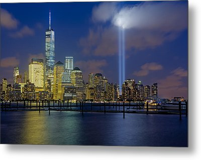 Wtc Tribute In Lights Nyc 1 Metal Print by Susan Candelario
