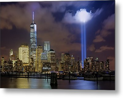 Wtc Tribute In Lights Nyc Metal Print by Susan Candelario
