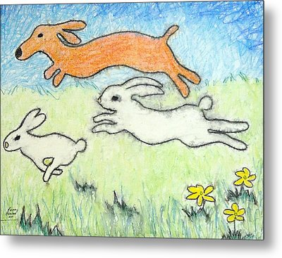 Metal Print featuring the mixed media Wunning Wif Wabbits by Kenny Henson