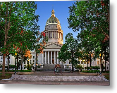 Wv Capitol As Dusk Metal Print by Mary Almond