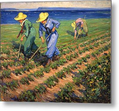 Ww1 Land Girls Farming Painting Print Metal Print