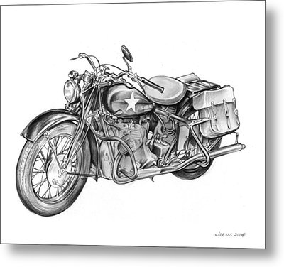 Ww2 Military Motorcycle Metal Print