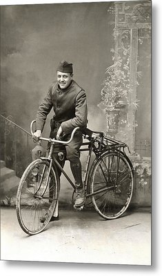 Wwi Us Army Bicyclist Metal Print by Historic Image