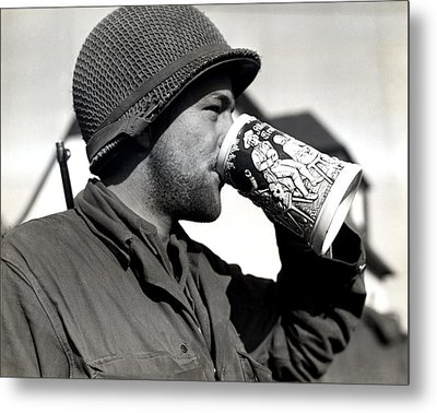 Wwii American Soldier Drinking Beer Metal Print by Historic Image