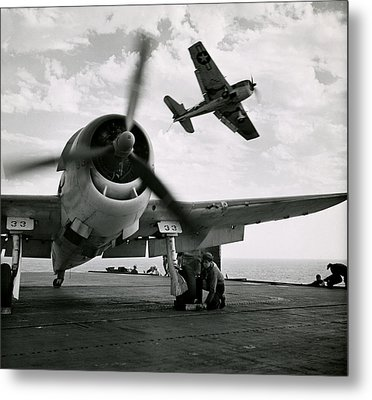 Wwii Us Navy Hellcats Metal Print by Historic Image
