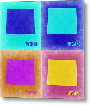 Wyoming Pop Art Map 2 Metal Print by Naxart Studio