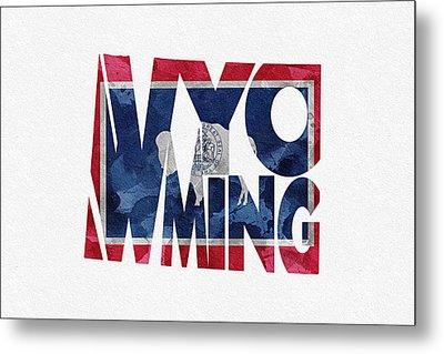 Wyoming Typographic Map Flag Metal Print