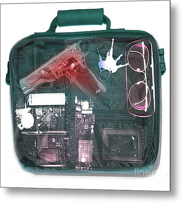 X-ray Of A Briefcase With A Gun Metal Print by Scott Camazine