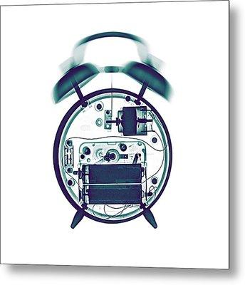 X-ray Of A Mechanical Alarm Clock Metal Print by Photostock-israel