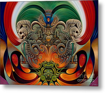 Xiuhcoatl The Fire Serpent Metal Print by Ricardo Chavez-Mendez