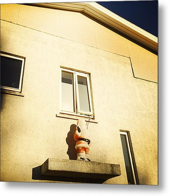 Xmas Decoration With Santa In June Akureyri Iceland Metal Print by Matthias Hauser