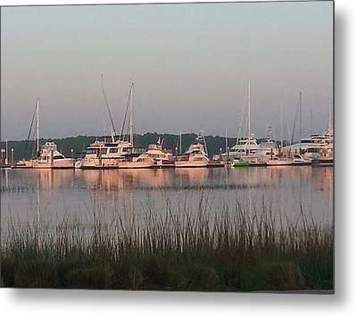 Yacht And Harbor View Metal Print by Joetta Beauford