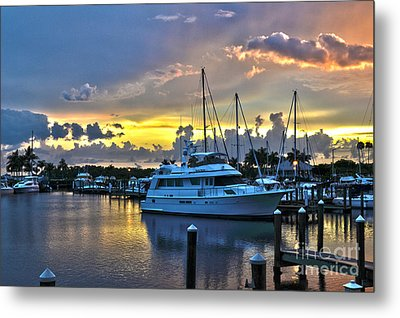 Metal Print featuring the photograph Yacht At Cape Coral Florida Marina And Resort 2 by Timothy Lowry