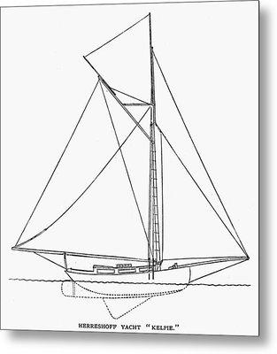 Yacht: Kelpie, 1882 Metal Print by Granger