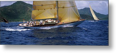 Yacht Racing In The Sea, Antigua Metal Print by Panoramic Images