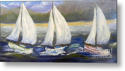Yachts Sailing Off The Coast Metal Print