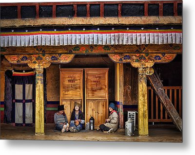 Yak Butter Tea Break At The Potala Palace Metal Print by Joan Carroll
