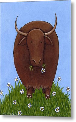 Whimsical Yak Painting Metal Print by Christy Beckwith