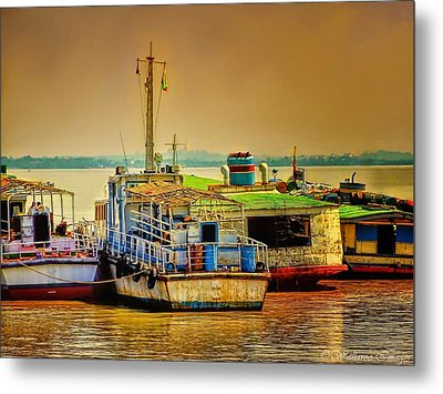 Metal Print featuring the photograph Yangon Harbour by Wallaroo Images