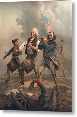 Yankee Doodle Or The Spirit Of 76, Published By J.f. Ryder After Archibald M. Willard Chromolitho Metal Print by Archibald Willard