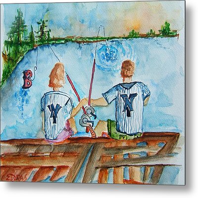 Yankee Fans Day Off Metal Print by Elaine Duras