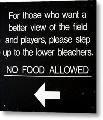 Yankee Stadium Lower Bleachers Sign Metal Print by Bill Cannon