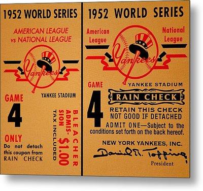 Yankees 4th Straight - Vintage Metal Print by Benjamin Yeager