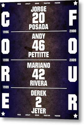 Yankees Core Four Chart Metal Print by Anibal Diaz