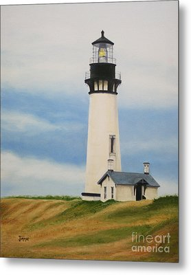 Metal Print featuring the painting Yaquina Head Lighthouse by Jimmie Bartlett