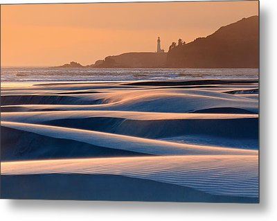 Yaquina Head Swirling Sands Metal Print