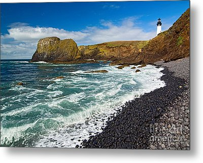 Yaquina Lighthouse On Top Of Rocky Beach Metal Print by Jamie Pham