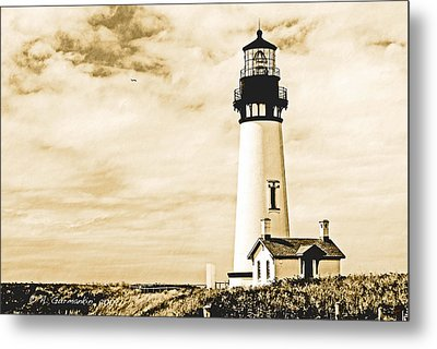Metal Print featuring the photograph Yaquina Lighthouse Oregon by A Gurmankin
