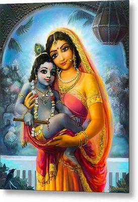 Yashoda And  Krishna Metal Print by Lila Shravani