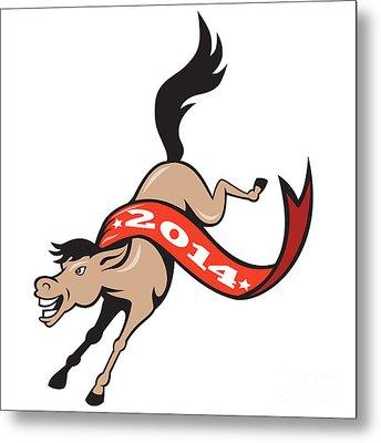 Year Of Horse 2014 Jumping Cartoon Metal Print by Aloysius Patrimonio