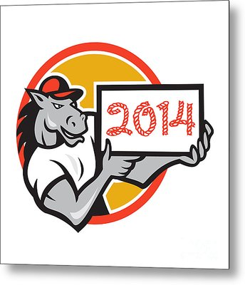 Year Of Horse 2014 Showing Sign Cartoon Metal Print by Aloysius Patrimonio