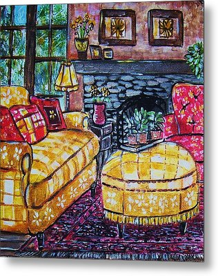 Yello Sofa Metal Print by Linda Vaughon