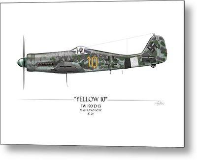 Yellow 10 Focke-wulf Fw190d - White Background Metal Print by Craig Tinder