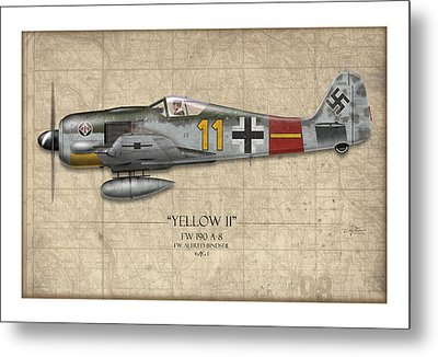 Yellow 11 Focke-wulf Fw 190 - Map Background Metal Print by Craig Tinder