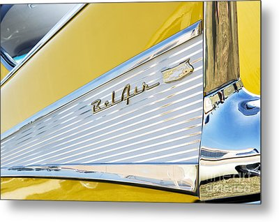 Yellow 1957 Chevrolet Bel Air Tail Fin Metal Print by Tim Gainey