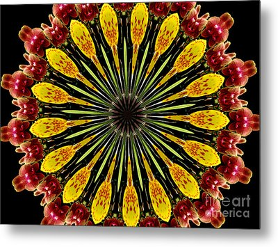 Yellow And Apricot Orchids Kaleidoscope Metal Print by Rose Santuci-Sofranko