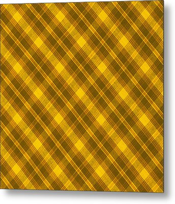 Yellow And Brown Diagonal Plaid Pattern Cloth Background Metal Print