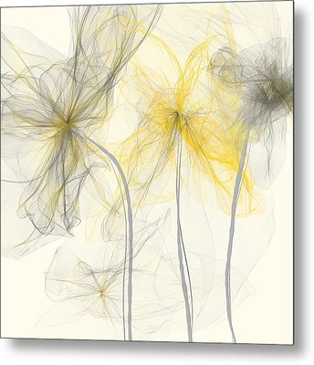 Yellow And Gray Flowers Impressionist Metal Print by Lourry Legarde
