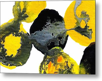 Yellow And Gray Interactions 4 Metal Print by Amy Vangsgard